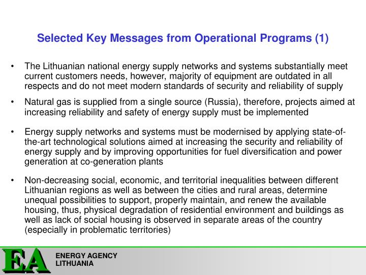 Selected key messages from operational programs 1