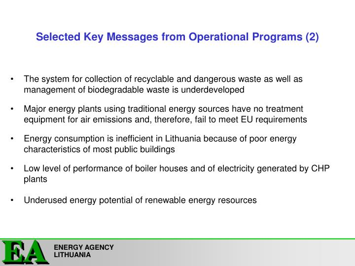 Selected key messages from operational programs 2