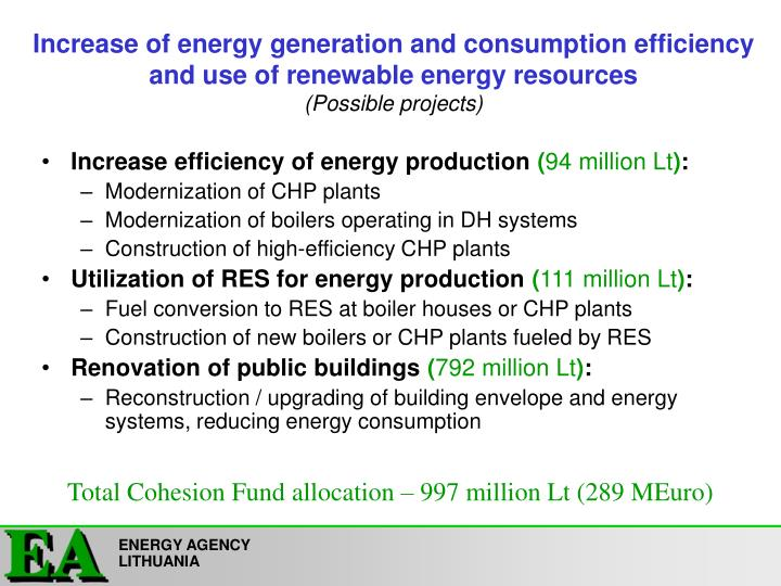 Increase of energy generation and consumption efficiency