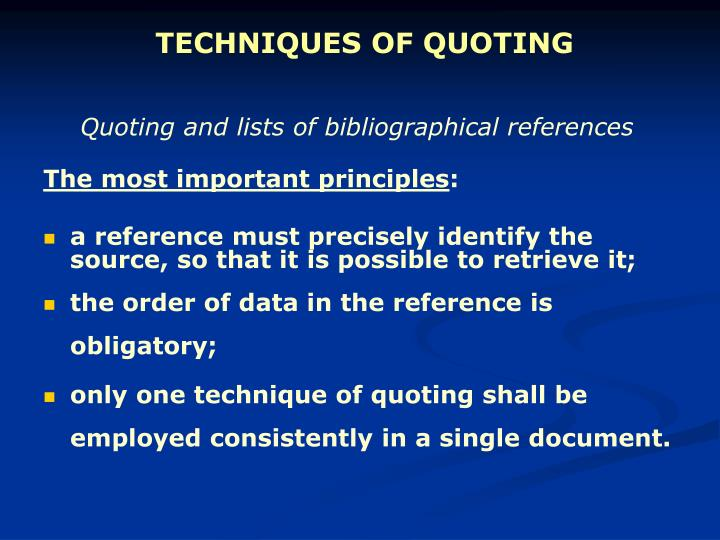 Quoting and lists of bibliographical references