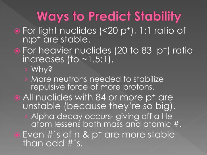 Ways to Predict Stability