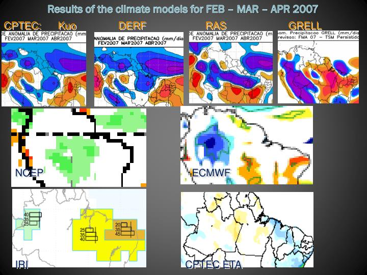 Results of the climate models for FEB – MAR – APR 2007