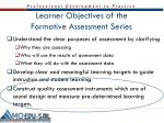 learner objectives of the formative assessment series