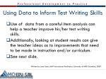 using data to inform test writing skills