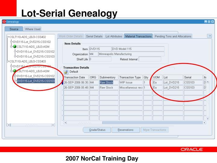 Lot-Serial Genealogy