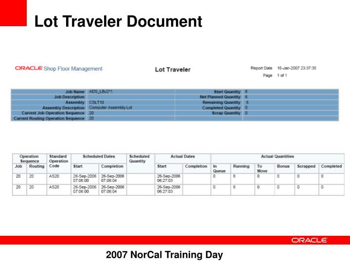 Lot Traveler Document
