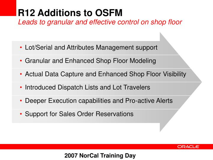 R12 Additions to OSFM
