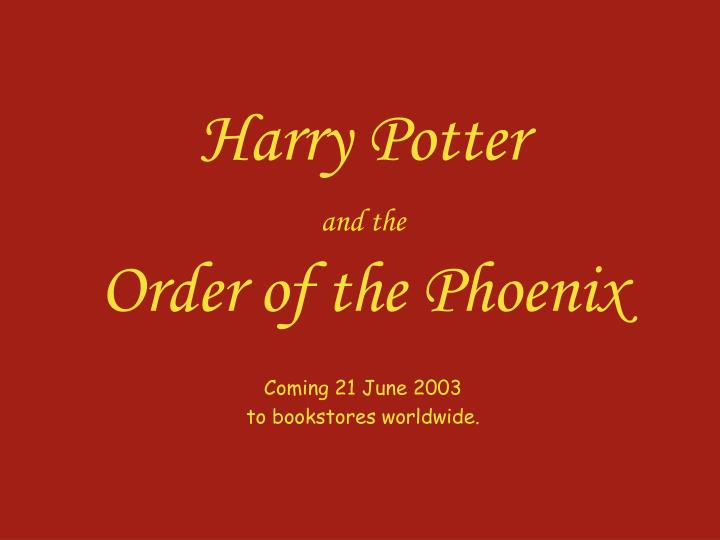 harry potter and the order of the phoenix n.
