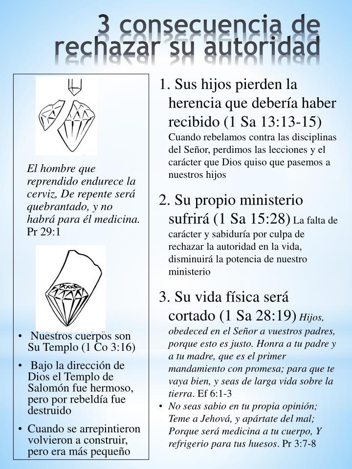 1. Sus hijos pierden la herencia que debería haber recibido (1 Sa 13:13-15)