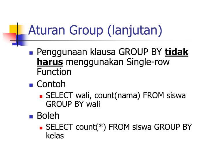 Aturan Group (lanjutan)