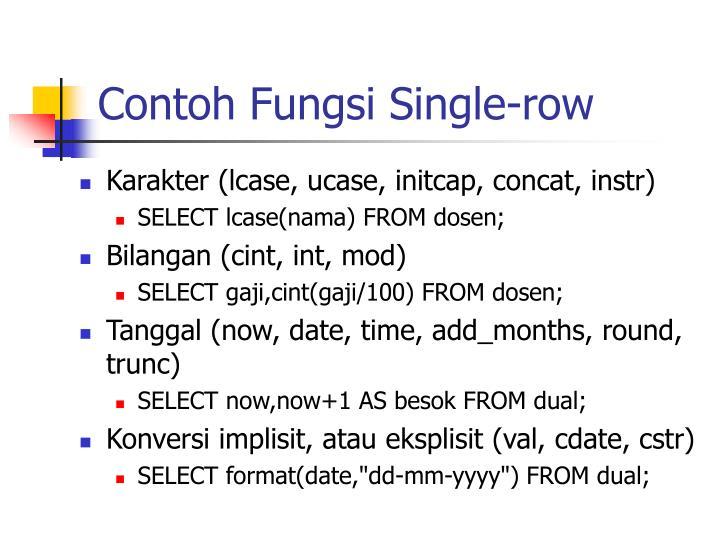 Contoh Fungsi Single-row