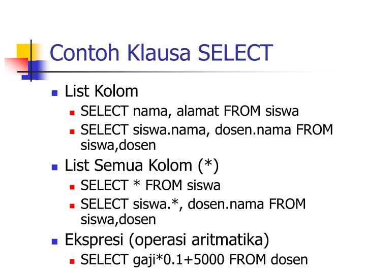 Contoh Klausa SELECT