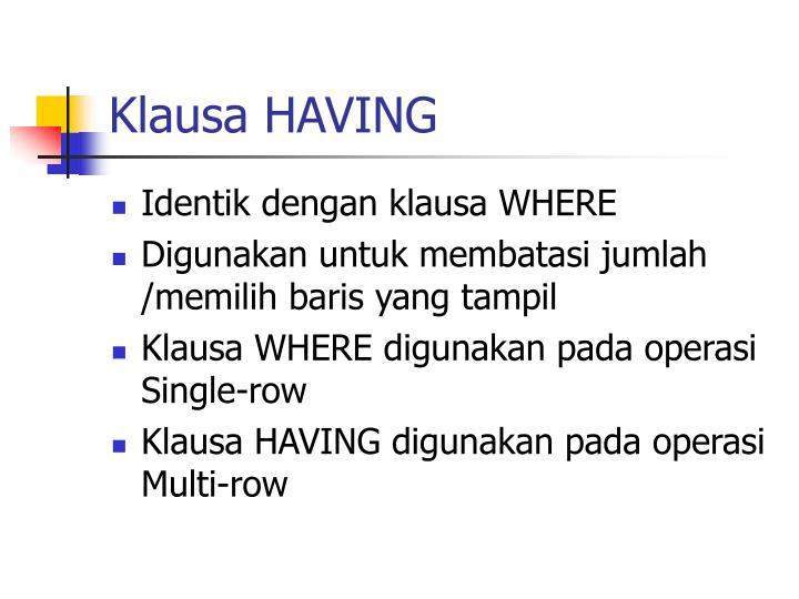 Klausa HAVING