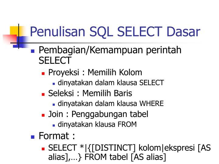 Penulisan SQL SELECT Dasar