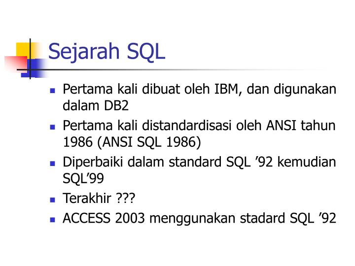Sejarah SQL