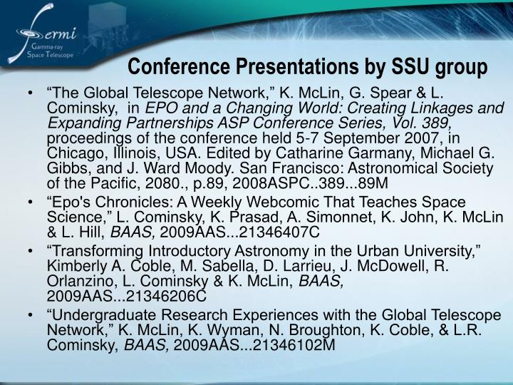 Conference Presentations by SSU group