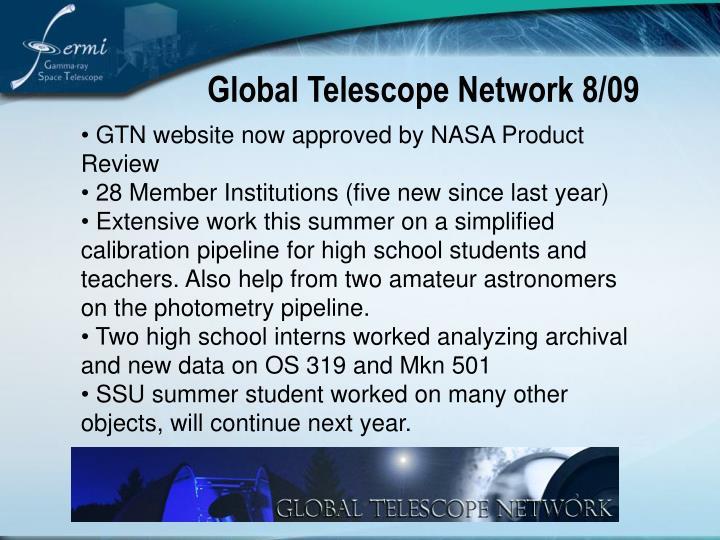 Global Telescope Network 8/09