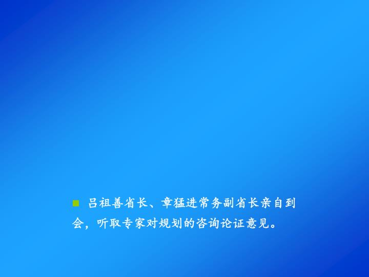 吕祖善省长、章猛进常务副省长亲自到会,听取专家对规划的咨询论证意见。