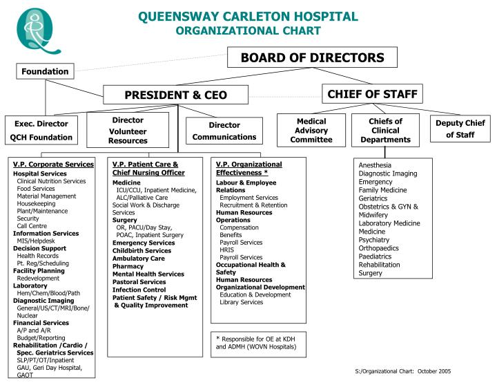 Ppt  Queensway Carleton Hospital Organizational Chart Powerpoint