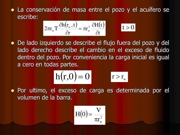 La conservación de masa entre el pozo y el acuífero se escribe:
