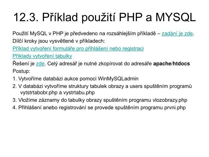 12.3. Příklad použití PHP a MYSQL