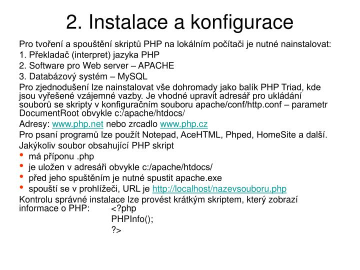 2. Instalace a konfigurace
