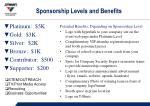 sponsorship levels and benefits
