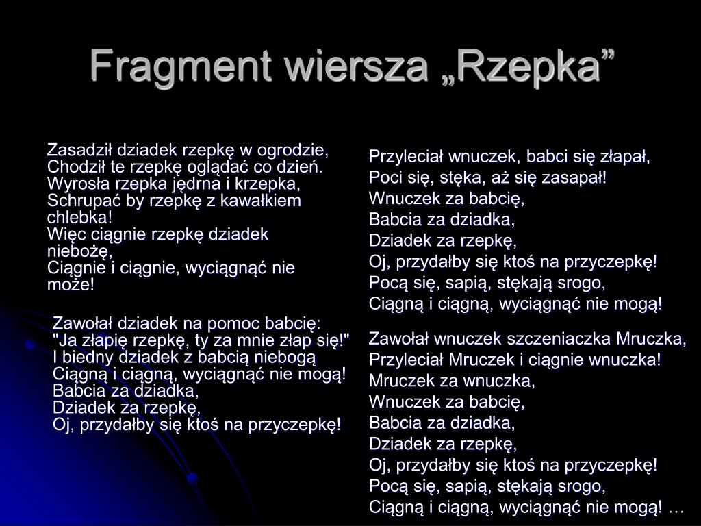 Ppt Wiersz Rzepka Powerpoint Presentation Free Download