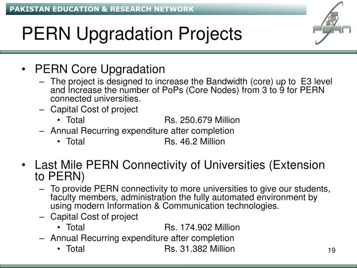 PERN Upgradation Projects