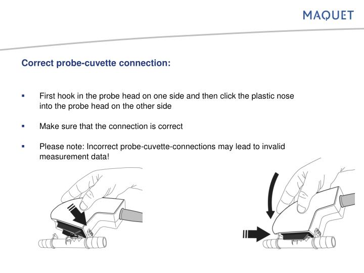 Correct probe-cuvette connection: