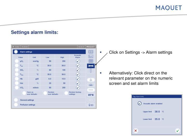 Settings alarm limits: