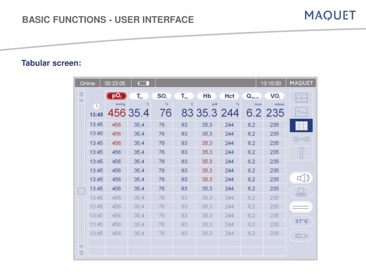 BASIC FUNCTIONS - USER INTERFACE