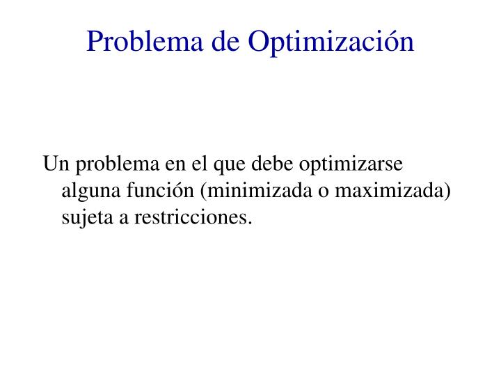 Problema de Optimización