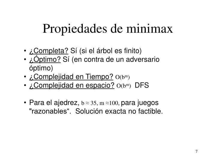 Propiedades de minimax