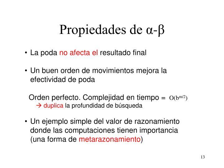Propiedades de α-β