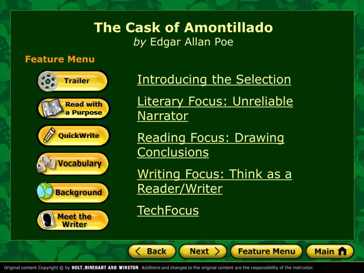 literary analysis essay the cask of amontillado Literary analysis of the cask of amontillado 1 marxist criticism views literary works as reflections of the social institutions from which they originate.