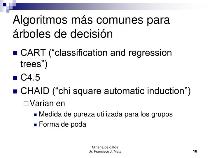 Algoritmos más comunes para árboles de decisión