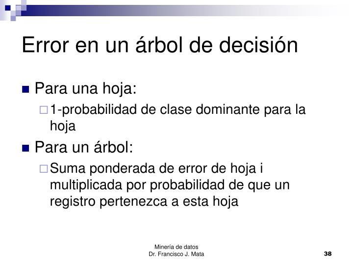 Error en un árbol de decisión