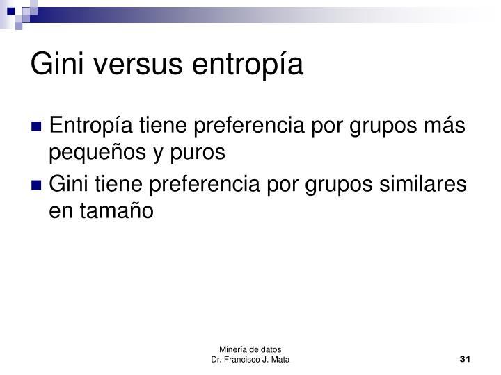Gini versus entropía