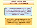 ethics fraud and corporate governance