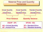 material price and quantity variances
