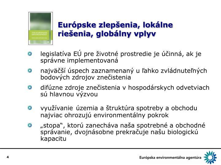 Európske zlepšenia, lokálne riešenia, globálny vplyv
