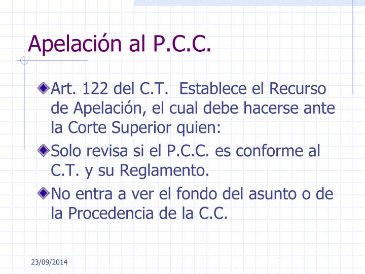 Apelación al P.C.C.