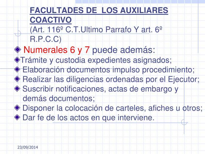 FACULTADES DE  LOS AUXILIARES COACTIVO