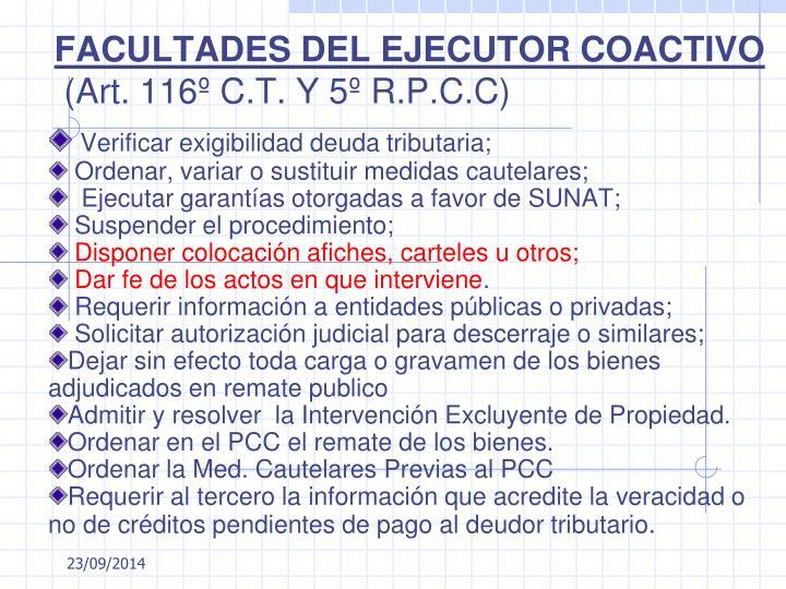 FACULTADES DEL EJECUTOR COACTIVO