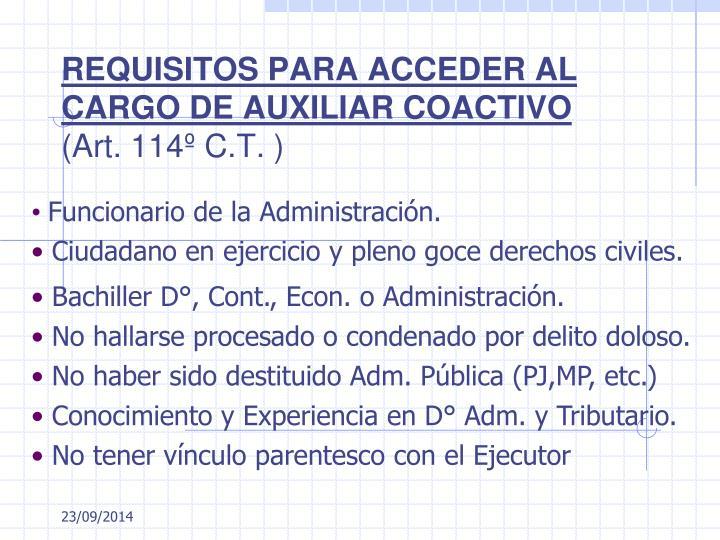 REQUISITOS PARA ACCEDER AL CARGO DE AUXILIAR COACTIVO