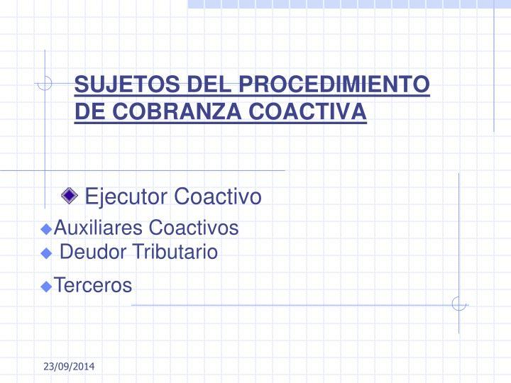 SUJETOS DEL PROCEDIMIENTO DE COBRANZA COACTIVA
