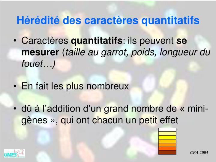 Hérédité des caractères quantitatifs