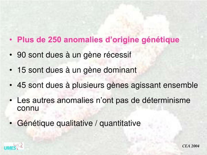 Plus de 250 anomalies d'origine génétique