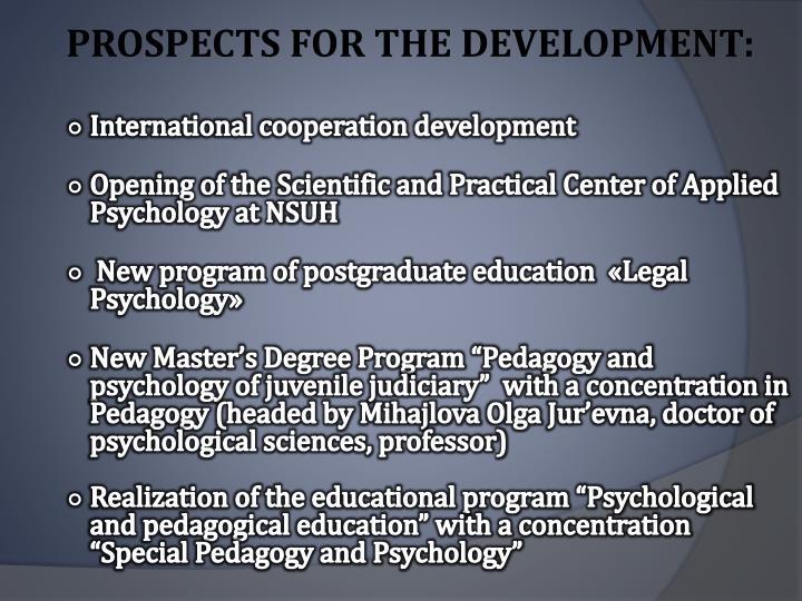 PROSPECTS FOR THE DEVELOPMENT: